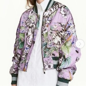 Oversized Purple Tiger Quilted Bomber Satin Jacket